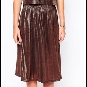 Asos Fifth and I copper metallic pleated skirt